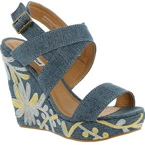 Not Rated Denim Embroidered Wedges